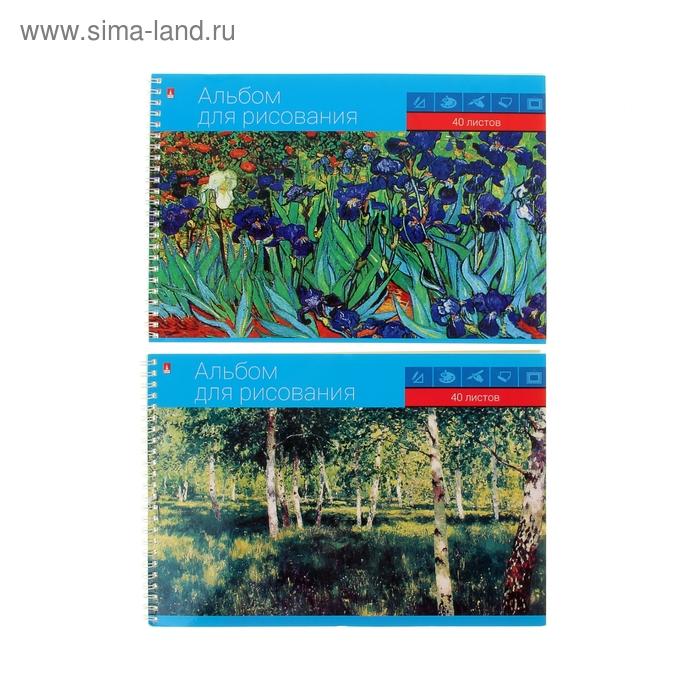 """Альбом для рисования А4, 40 листов на гребне """"Классика"""", обложка картон 230г/м2, блок офсет 100г/м2, 2 вида МИКС"""