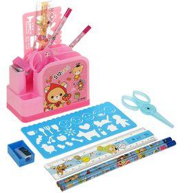 Настольный набор детский, «Паровозик» из 9 предметов: ножницы, ластик, линейка, 2 карандаша, трафарает, МИКС