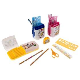 Настольный набор, детский, «Пенал-трансформер» из 7 предметов: подставка, ножницы, линейка, 2 карандаша, точилка, трафарет, МИКС