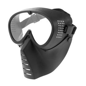 Glasses-mask for riding motorcycles, visor transparent, black