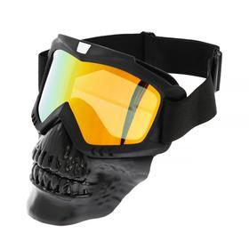 Glasses-mask for riding motorcycles, collapsible, visor orange, black