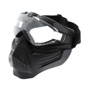 Glasses-mask for riding motorcycles, collapsible, visor transparent, black