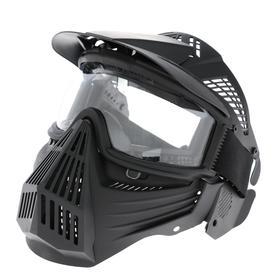 Glasses-mask for riding motorcycles, collapsible, visor transparent, visor, black