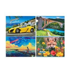 Альбом для рисования А4, 40 листов на скрепке, обложка мелованный картон, блок 80 г/м2, МИКС