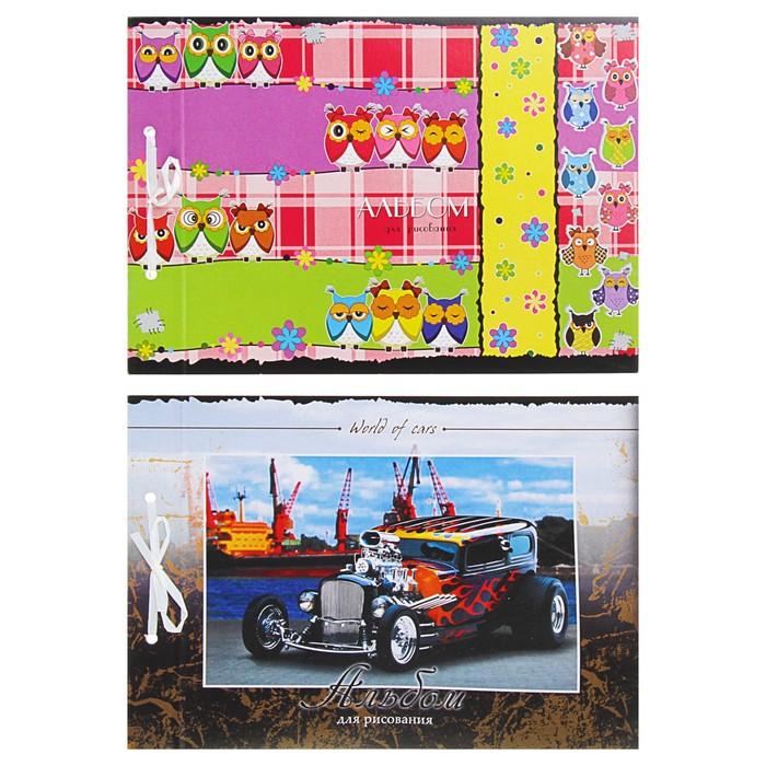 Альбом для рисования А4, 24 листа на завязках, обложка картон 240 г/м2, блок ВХИ 160 г/м2, 2 вида МИКС