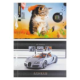 Альбом для рисования А4, 30 листов на завязках, обложка мелованный картон, блок ВХИ 160 г/м2, МИКС