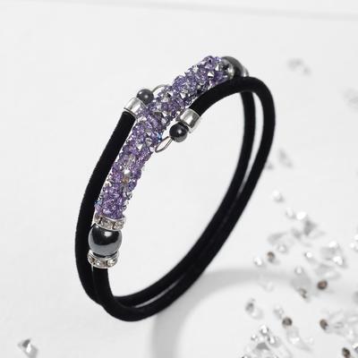 "Bracelet ""Party"" on a velvet rope, purple color"