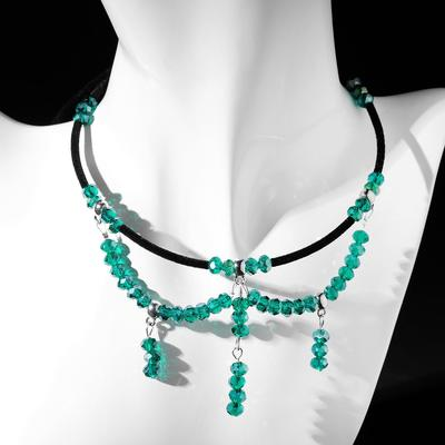 Czech glass choker, emerald color