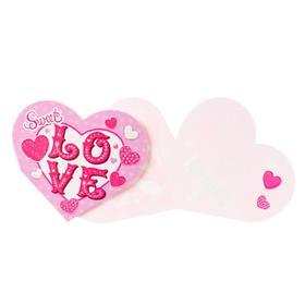 "Открытка ""Love"", термография, сердца, мини"