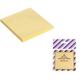 Блок с липким краем 76 х 76 мм, 80 листов, Attomex, офсет 60 г/м², цвет жёлтый