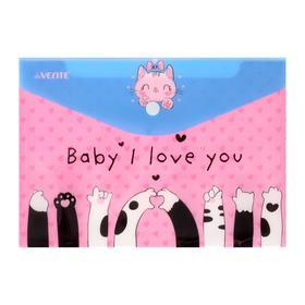 Папка-конверт на кнопке A5 (240 x 170 мм), 150 мкм, непрозрачная с рисунком, deVENTE Baby I love you