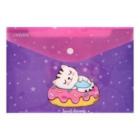 Папка-конверт на кнопке A5 (240 x 170 мм), 150 мкм, непрозрачная с рисунком, deVENTE Sweet dreams