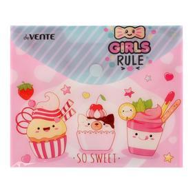 Папка-конверт на кнопке А6 (170 х 140 мм) , 150 мкм, горизонтальная, deVENTE Girls rule