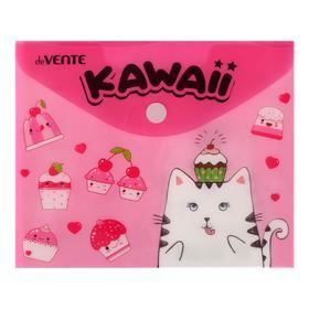 Папка-конверт на кнопке А6 (170 х 140 мм) , 150 мкм, горизонтальная, deVENTE Sweet kitty