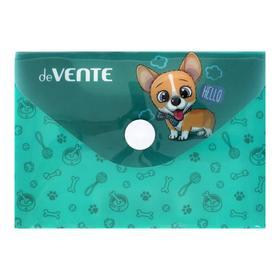 Папка-конверт на кнопке А7 (105 х 74 мм), 150 мкм, горизонтальная, deVENTE Puppy