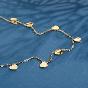 "Колье ""Сердечки"" романтика, цвет золото, 45 см"