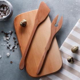 Кухонный набор для рыбы: доска, лопатка, вилка, 28 х 15 см
