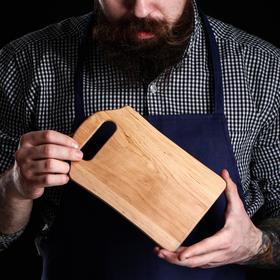 Доска разделочная, для сыра и капкейков, 21х13х0,8 см, массив ольхи