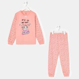Пижама для девочки, цвет розовый, рост 98-104 см