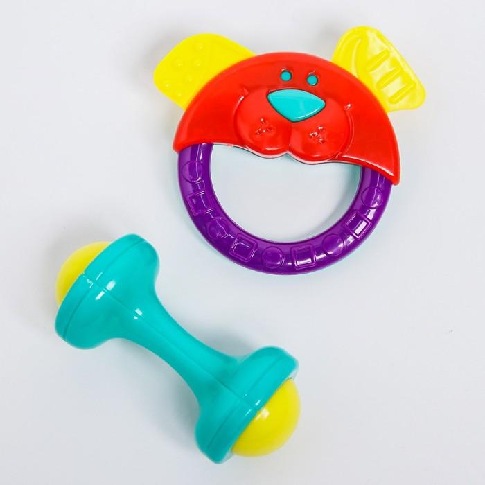 Набор игрушек-погремушек «Собачка и гантелька», 2 шт., цвет МИКС - фото 105532128
