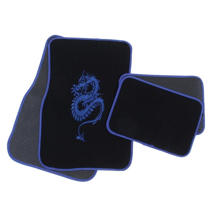 """Набор ковриков для авто """"Дракон"""". 4 шт, 67х43 см и 43х30 см, синий"""