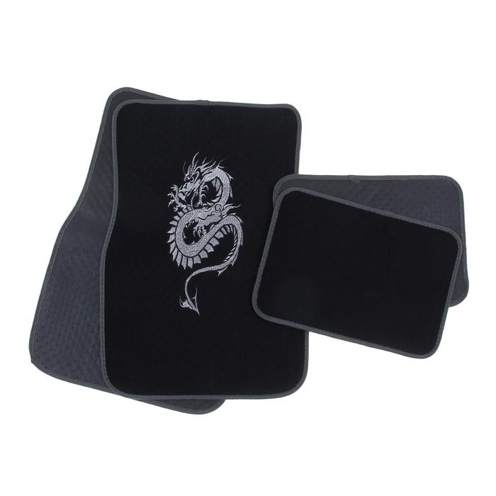 "Набор ковриков для авто ""Дракон"". 4 шт, 67х43 см и 43х30 см, серый"