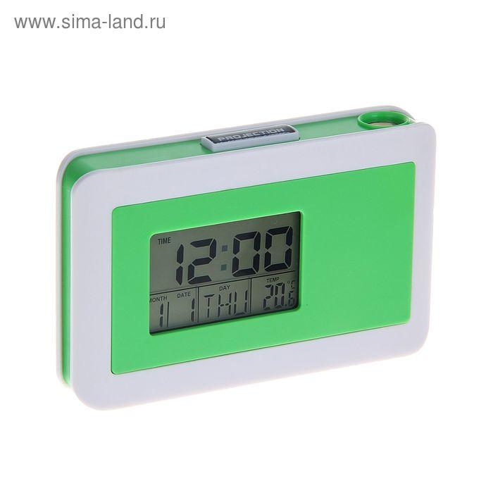 Часы проекционные, календарь/температура/будильник, 2*ААА, МИКС