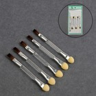 A set of applicators for shadows, double-sided, with a narrow brush, 5pcs, 8cm, color: transparent/silver