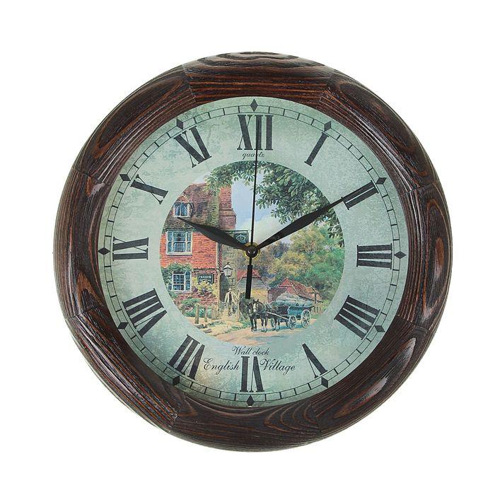 """Часы настенные, серия: Город, """"English village"""", деревянный обод, 30х30 см, микс"""