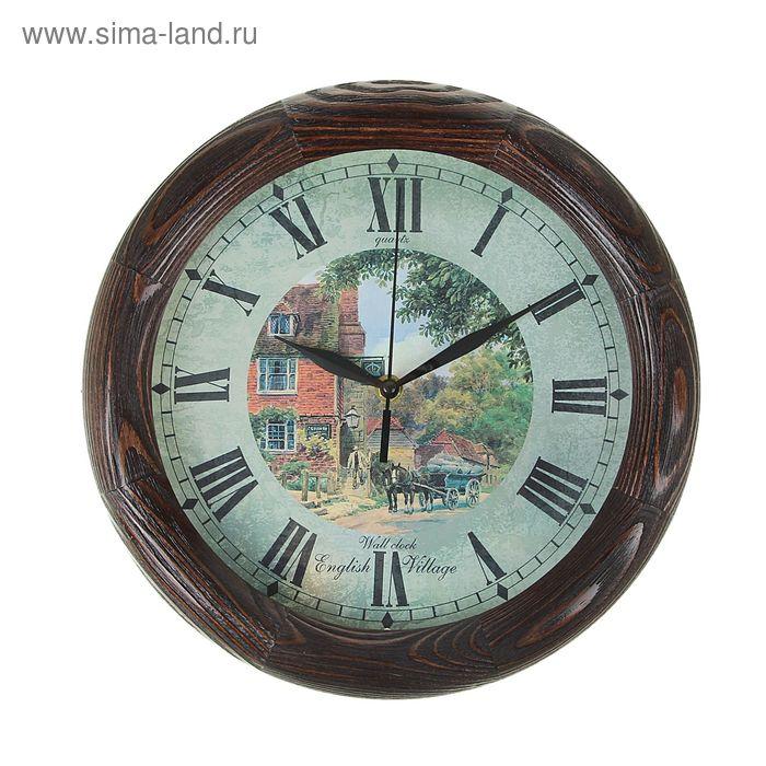 """Часы настенные круглые """"English village"""", деревянные"""