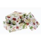 """Набор коробок 3 в 1 прямоугольные """"Подарки и снежинки"""""""