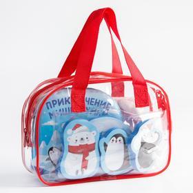 """Набор для купания """"Мишка Умка"""" в сумке: мочалка, книжка, игрушки"""