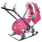 Санки-коляска «Ника детям 7-4», цвет вишнёвый в клетку - фото 106142992