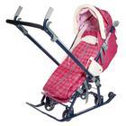 Санки-коляска «Ника детям 7-4», цвет вишнёвый в клетку - фото 106142994