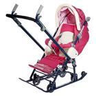Санки-коляска «Ника детям 7-4», цвет вишнёвый в клетку - фото 106142995