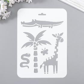 "Plastic stencil ""Giraffe, crocodile"" 16x22 cm"