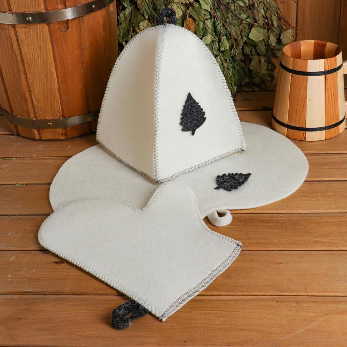 Набор для бани и сауны с аппликацией «Классический»: шапка, рукавица, коврик, фетр, белый
