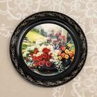 """Plate decorative """"Flowers"""", D=18 cm, lacquered miniature, mix"""