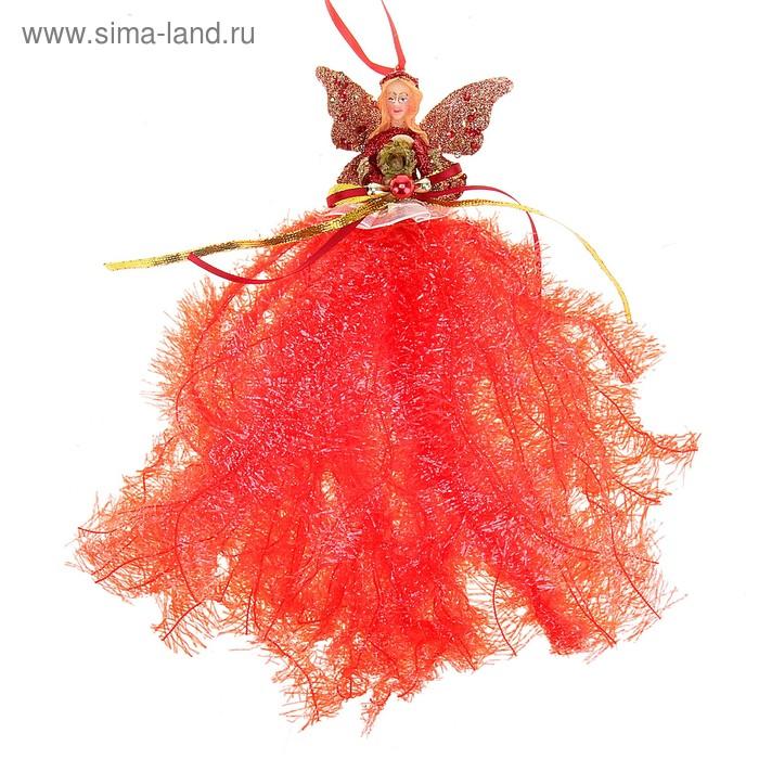 """Новогоднее украшение ручной работы """"Фея"""" (красная юбка)"""
