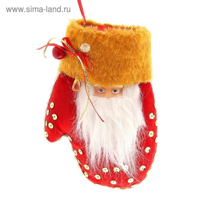 """Варежка """"Дед Мороз"""" (красная, с мехом)"""