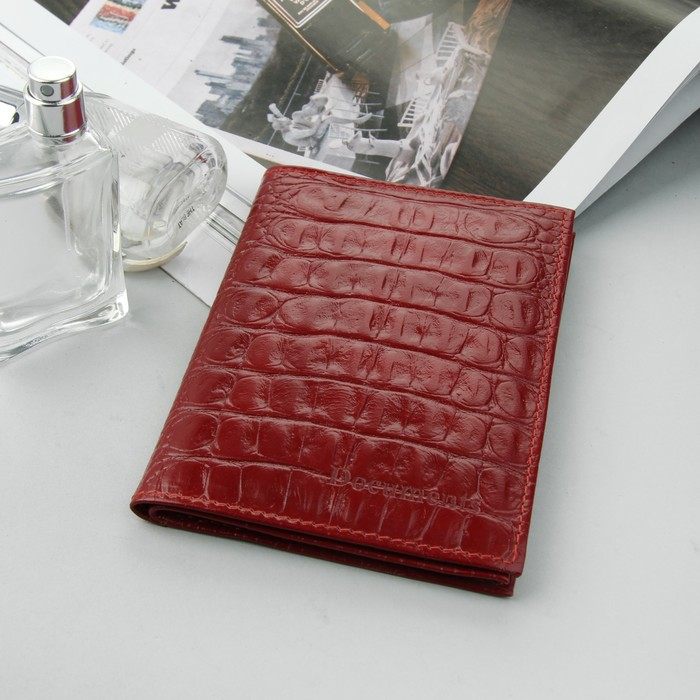 Обложка для автодокументов и паспорта, 5 карманов для карт, красный кайман