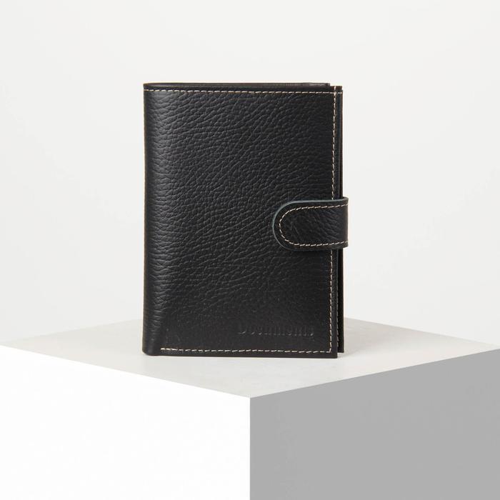 Обложка для автодокументов и паспорта, 5 карманов для карт, цвет чёрный