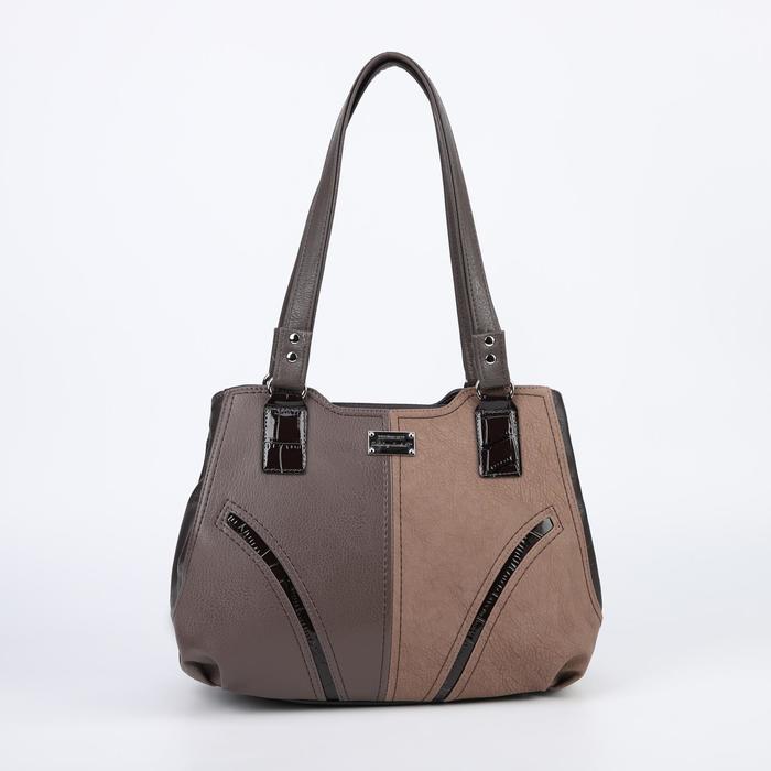 Сумка женская, 3 отдела на молниях, наружный карман, цвет коричневый - фото 53734