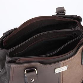 Сумка женская, 3 отдела на молниях, наружный карман, цвет коричневый - фото 53736