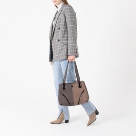 Сумка женская, 3 отдела на молниях, наружный карман, цвет коричневый - фото 53737
