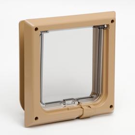 Дверца для кошек «БАРСИК», проём 145*145 мм, толщина двери 36-42 мм, капучино