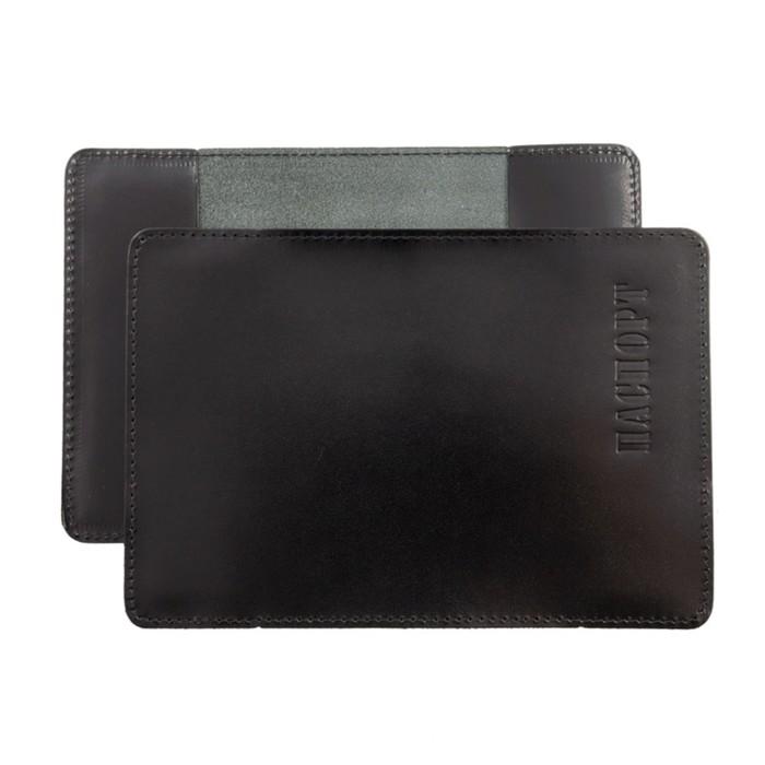 Обложка для паспорта, чёрный глянцевый