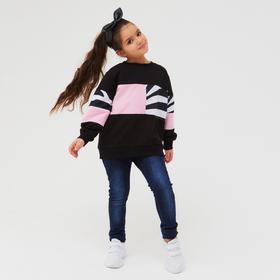 Свитшот для девочки, цвет чёрный, рост 110-116 см