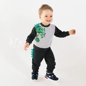 Комплект для мальчика, цвет тёмно-серый/принт ящерица, рост 80 см