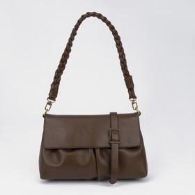 Сумка-мессенджер, отдел на молнии, наружный карман, цвет коричневый